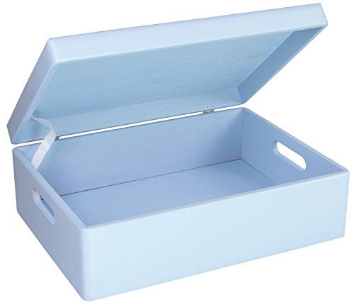LAUBLUST Holzkiste zur Geburt Größe L - Kiefer Blau ca. 40 x 30 x 14 cm - Baby Erinnerungskiste mit Griffen - Runde Kanten und Deckel aus Vollholz