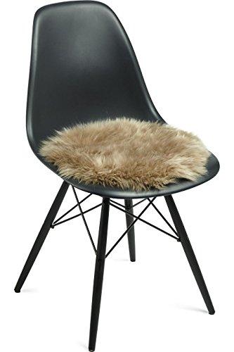 Natures Collection - Sitzauflage, Stuhlauflage - Neuseeländisches Schaffell - Farbe: Taupe, Braunbeige - Ø 38 cm - passend für sämtliche Stühle mit mindestens Ø 38 cm Sitzfläche