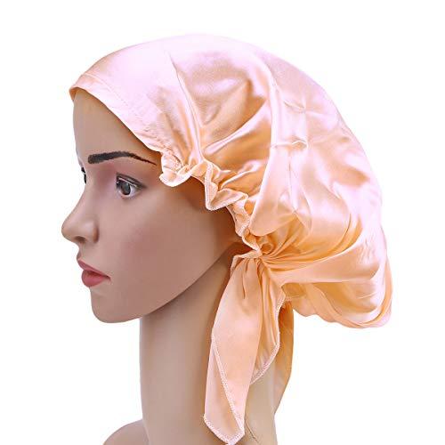 Frcolor Maulbeerseide schlafmütze lange haare motorhaube nacht haar bonnet hut für frauen mädchen (pink)