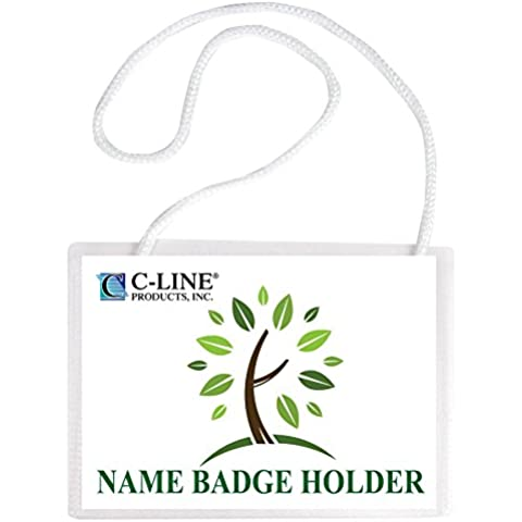 C-Line Biodegradable Name Badge Holder Kit, 4 x 3 Inches, 50 Badges (97043)
