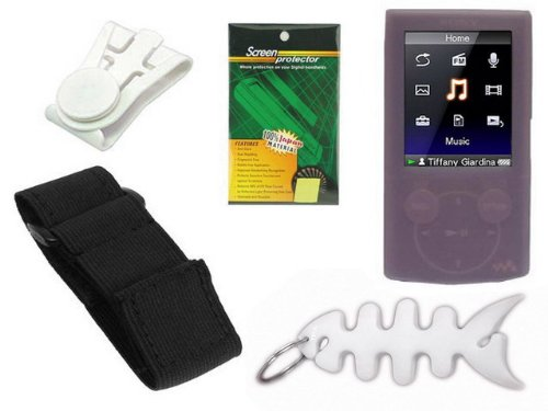 Pink Durable Flexible Soft Silicone Skin Case + Premium Reusable LCD Screen Protector + Elastic Armband + Belt Clip + Fishbone Style Keychain for Sony Walkman NWZ-E344 / E345 Series Mp3 Player by TPA  available at amazon for Rs.1722