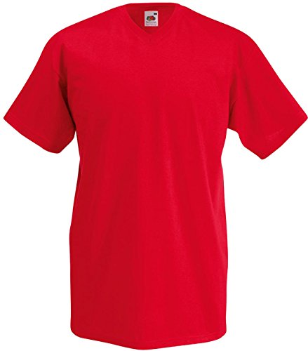 Fruit of the Loom Herren Casual Wear Short Sleeve TShirt Top Valueweight V-Neck Tee Rot - Rot