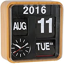 Karlsson Reloj de pared Flip Calendario - Bambú Madera Retro Mini Flip