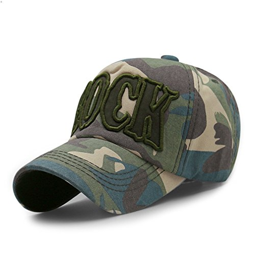 GEEAUASSD Sports Hat Outdoor Run Camo Baseball cap Visor Sun Caps (ROCK, Light Green) (Lana Rock Wolle)