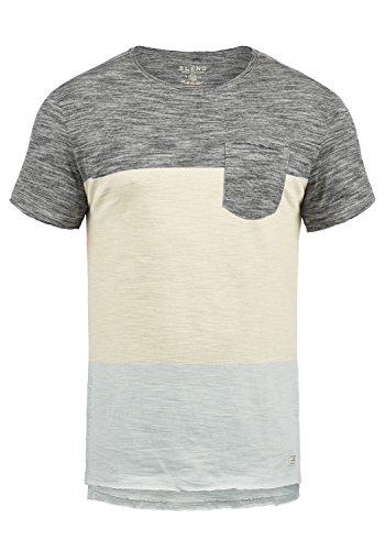 Blend Johannes Herren T-Shirt Kurzarm Shirt Mit Rundhalsausschnitt Aus 100% Baumwolle, Größe:L, Farbe:Black (70155) -