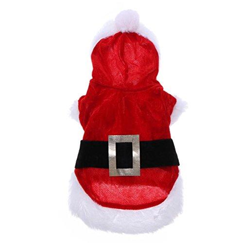 prettygood7 Hunde-Kostüm mit Kapuze, Weihnachtsmann-Motiv, Baumwolle, S