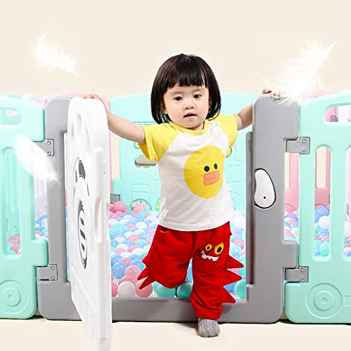LIUFS-Playpens Children's Fence Indoor Game Fence Safety Learning Walking Crawling Shatterproof Rails Kids Home (color : Powder blue white, Size : 20+2 fence)  LIUFS-Playpens
