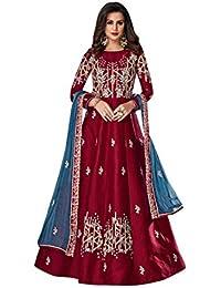 f92c3c0f35 Silk Embroidered Red Anarkali Salwar Kameez Suit Chiffon Dupatta 7786