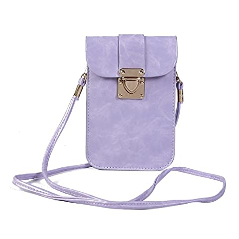 Damara Women Vintage Strap Push Lock Crossbody Phone Pouch,Light Purple