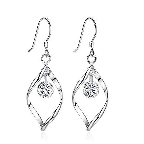 Zolkamery Damen Ohrringe 925 Sterling Silber Twist Haken Ohrhänger Ohrring mit Weiß AAA Rund...