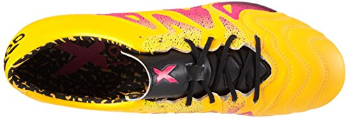 adidas X 15.1 SG Leather, Chaussures de Foot Homme, Mehrfarbig Gelb (Solar Gold/Shock Pink/Core Black)