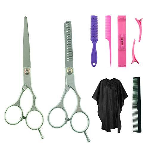8 Pcs professionnel ciseaux de coiffure kit, avec peigne à cheveux, cape, coupe et ciseaux amincissants, peigne à lame, clip bangs, clips, peigne de queue