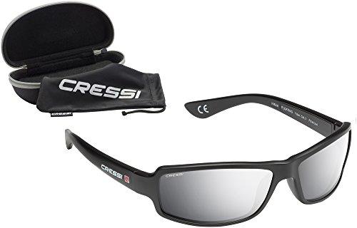 Cressi Ninja Floating, Occhiali Sportivi da Sole Uomo Polarizzati Galleggianti, Nero/Lenti a specchio