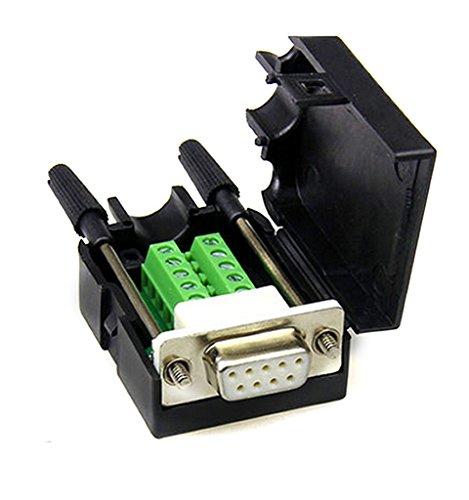 DB9 D-Sub VGA Adapter 9 Pins Signale Klemme Breakout-Plastikabdeckung 2 Reihen RS232 Frau mit einer Schraube (Pin-adapter 2)