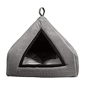 Mellifluous Premium Tent Velvet Grey Soft Hut Bed for Toy Dogs and Cats (Small, Grey-Black)