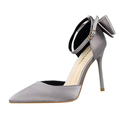 Heels, spitz, stieletto, one -Button, Fashion Shoes, Metal, Large Size, Comfortable mit Hohem Absatz Stiletto Fesselriemen Schuhe ()