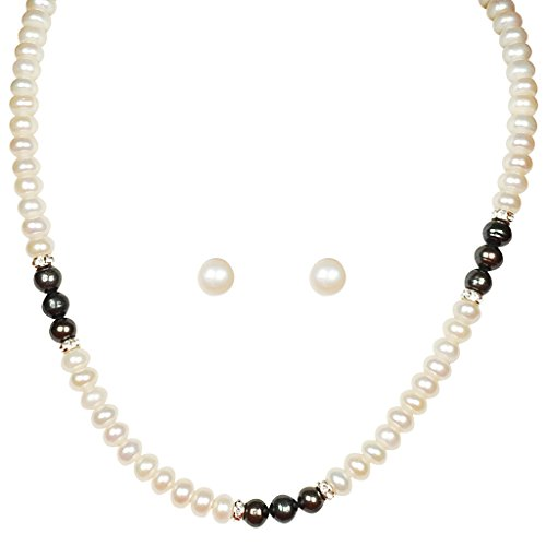 Classique Designer Silver Alloy With Gold Plated Button Pearl Necklace Set For Women(CP207)  available at amazon for Rs.249