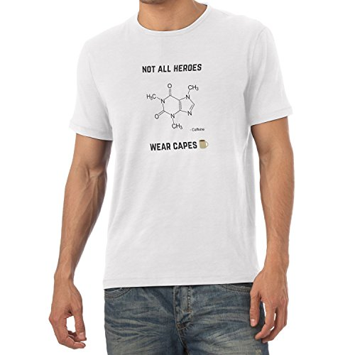 NERDO - Koffein - Not all Heroes wear Capes - Herren T-Shirt Weiß