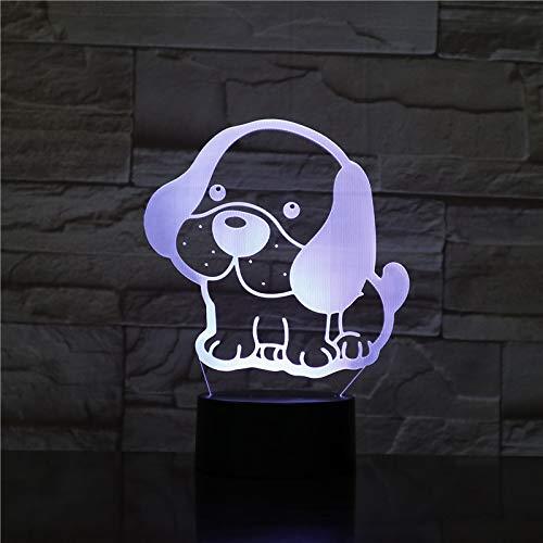 3d Lampe Netter Hund Welpe Großes Ohr Led 3D Nachtlicht 7 Farben Ändern Schlaftisch Schreibtisch Lampe Lampe Schlafzimmer Lava Lampe Halloween Geschenk (Eine Halloween-welpe Film)