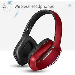 KOTION EACH Auriculares Bluetooth Wireless Headset B3506 Plegable Gaming Headset v4.1 con Microfono para PS4 PC MAC Smartphones Ordenadores(Rojo)