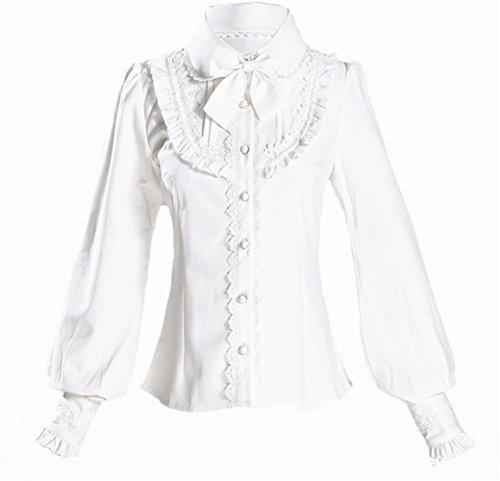 Damen Plissee Rock Rüsche Chiffon Bluse Retro Viktorianisch Lolita Bluse (Weiß, L) -