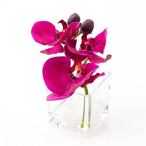 Künstliche Orchidee Phalaenopsis im Glas, violett, 15cm, Ø15cm - Deko Kunstblume - artplants
