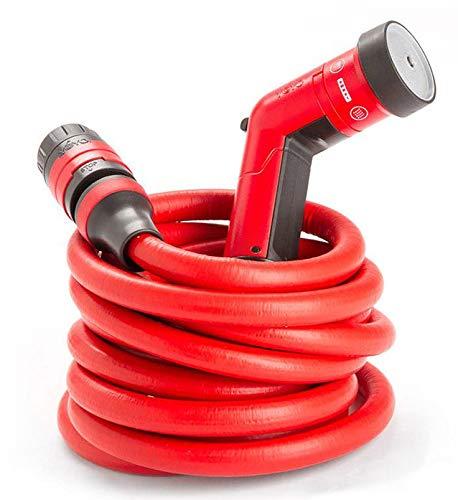 Fitt yoyo-Manguera de jardín roja, ligera, robusta y extremadamente flexible con ducha y acoplamiento rápido con el sistema Aquastop, para el jardín, el hogar y los viajes