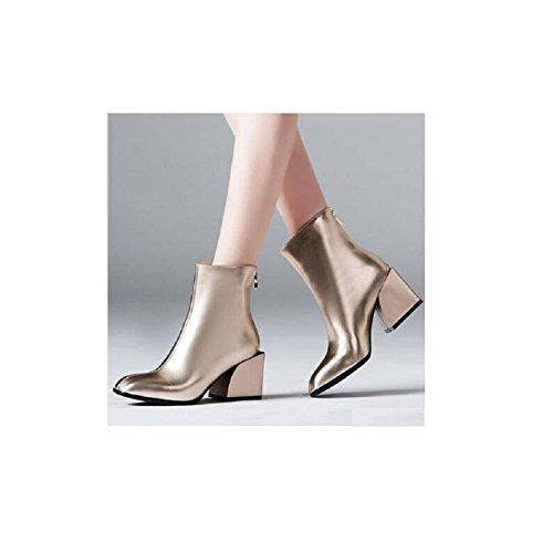 """YYH Bottes Classic Short Suede couleur unie """"BOLD"""" Fashion Square Head avec chausson épais rose gold"""