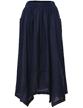 Quge Mujeres Casual Midi Falda Plisada Con Cintura Elástica A-Line Falda Larga Con Bolsillos
