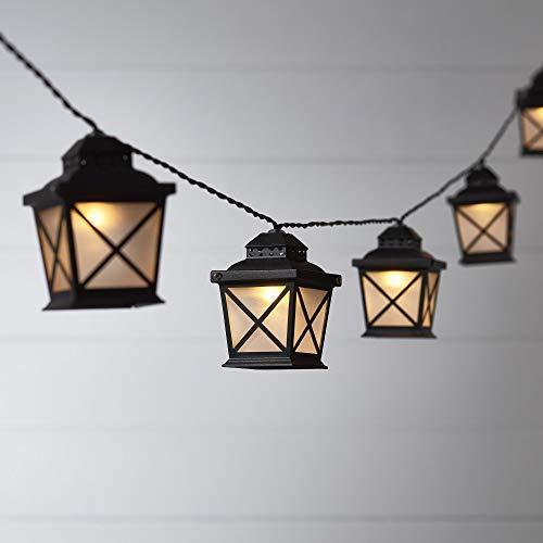 Lights4fun 10er LED Solar Laternen Lichterkette Warmweiß Garten Beleuchtung