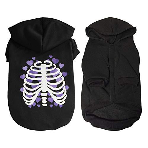 lustige Halloween Knochen Liebe Herzen Weste Top Kostüm warme Jacke schwarzer Mantel Cosplay Party Hoodie Kleidung ()