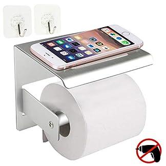 Soporte de papel higiénico, WisFox Nuevo tejido de papel autoadhesivo de montaje en pared de estilo conciso con 2 ganchos y estantes para el almacenamiento de jabón en teléfonos móviles