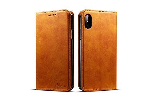 FQIAO iPhone X Concise Wallet Fall, Kickstand PU Leder Volle Schutz Business Fashion Defender mit 3 Kartensteckplätze und Cash Slot Durable für iPhone X iPhone 10 2017 Release-Khaki (Burgund Wildleder-fall)