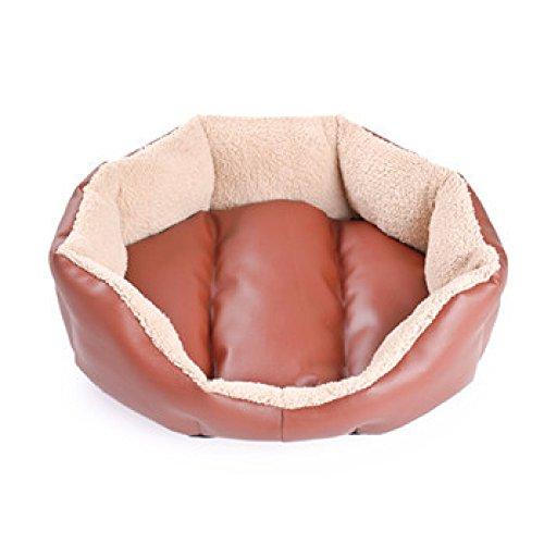 XIAOLONGY Pet Nest Icy Sommer PU Leder Octagon Pet Nest Hund Katze Nest Schlafsofa (Blau: S37 * 43 * 15cm),Brown-M (Pu-schlafsofa)