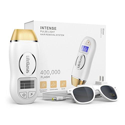 IPL Geräte Haarentfernung Lichtimpulse Dauerhafte Lichtbasierte Haarentfernung mit 5 Intensitätsstufen und 400.000 Lichtimpulsen für Körper Gesicht Bikinizone Kabelgebunden