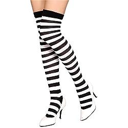 Medias a rayas Kraut Wear®, por encima de las rodillas, ideales para disfraces de carnaval, estilo de los años 80