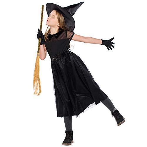 Schule Kostüm Themen Party - HUOFEIKE Süße Hexe Mädchen Halloween Kostüm, Kinder Halloween Kostüm, Rock und Hut, geeignet für Maskerade Geburtstag Thema Party Schule Bühnenauftritt,M