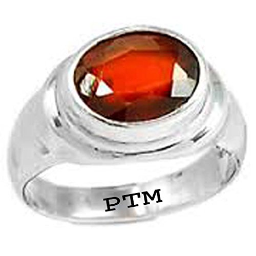 PTM Certified Natural 9.25 Ratti or 8.41 Natural Gomed (Hessonite) Astrological Gemstone Sterling Silver Ring