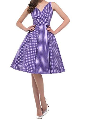 Crazycatz®Weinlese V-Ausschnitt Swing Rockabilly Partei Kleid Lila