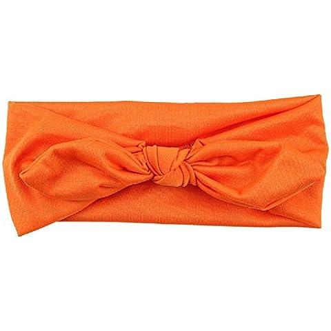 Ularma Lindo Niños niñas bebe diadema diadema turbante oreja de conejo de arco nudo cabeza envuelve (naranja)