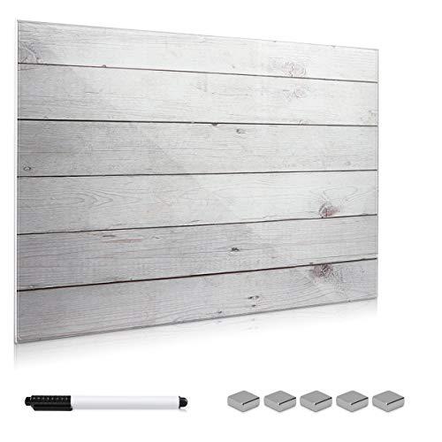 Navaris Magnettafel Memoboard aus Glas - Magnetwand 60x40 cm zum Beschriften - Magnetische Tafel inkl. Magnete Stift Halterung - Holzoptik Design