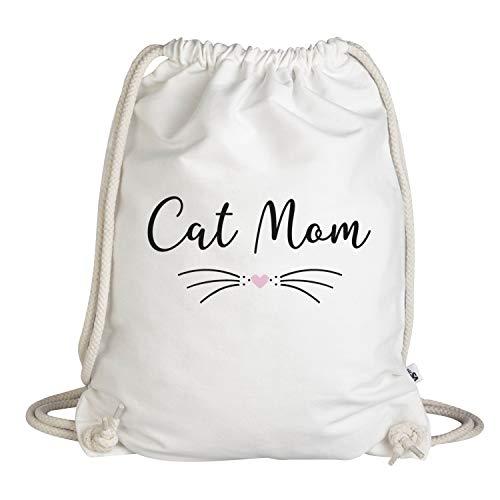 VISUAL STATEMENTS Sportbeutel - bedruckter Beutel mit Spruch - aus hochwertigen Materialien - Beutel mit Kordeln - EIN schöner Rucksack aus Baumwolle - Tasche in weiß (cat mom)