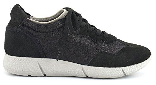 CAFÈ NOIR Sneaker donna running camoscio e glitter con zeppa interna P/E 2016 cod. DB618 (39, NERO)