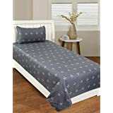 BADOTI Glace Cotton Printed 1 Single Bedsheet with 1 Pillow Cover-Grey