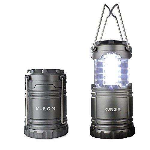 KUNGIX Faltbare LED Camping lampe Camping Laternen und Garten Laterne mit 3 AA Batterien, Ideal für Terrasse, Camping, Wandern, Notfall, Outdoor-Aktivitäten, Schwarz