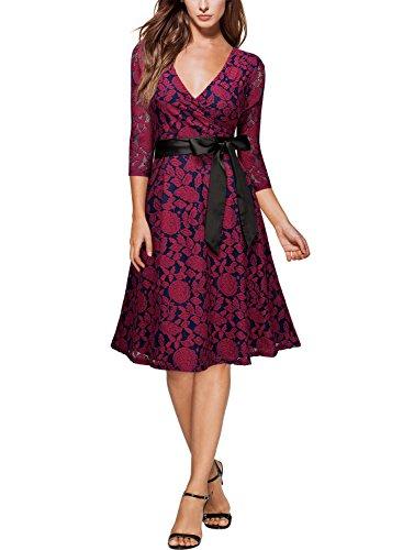 MIUSOL V-Ausschnitt Abendkleid Elegant Spitze Cocktailkleid 3/4 Arm Bogen Gürtel Hochzeit Brautjungfer Kleid Rot
