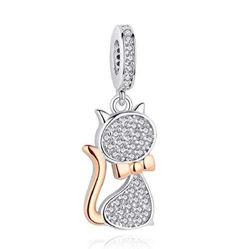 FeatherWish - Colgante de plata de ley 925 con diseño de gato con circonitas cúbicas y oro para pulsera Pandora