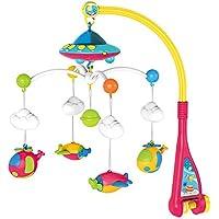 TOPVORK Cuna musical para bebé con 108 melodías caja de música estrella proyector función colgante avión sonajero juguete regalo para recién nacido