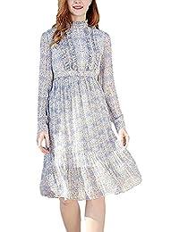 Donna Abiti Estivi Manica Lunga Collo Coreana Vintage Vestiti in Chiffon  Primaverile Floreali Fashion Anni 20 92d1ba1aee3