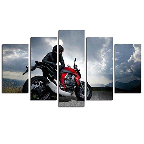 Masterein Motorrad-Rennfahrer 5 Panel-Spray Druck Malerei Wand-Dekor-Kunst-Ölgemälde Unframed Foto-Bilder -